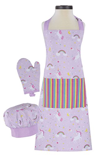 (Handstand Kitchen Child's Rainbows and Unicorns 100% Cotton Apron, Mitt and Chef's Hat Gift)