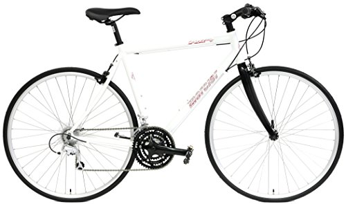 Mercier Galaxy Tour Hybrid 700c Comfort Bike 24 Speed with Flat Bars and Carbon Fiber Fork (White, 50cm)