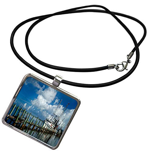 3dRose Mike Swindle Photography - Scenery - Shrimp Boat at Dock with Birds Sitting on Posts Under a Blue Sky - Necklace with Rectangle Pendant (ncl_296847_1) ()