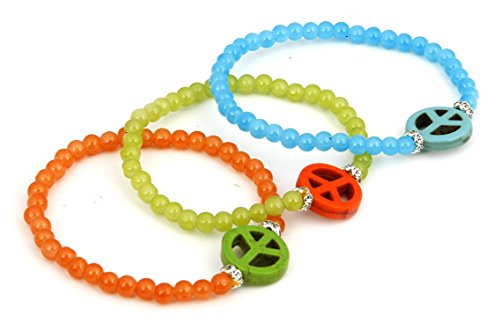 Love Beads Hippie (Beautiful Colorful Bead Bracelet With Colorful Hippie Peace Love Symbol Set of 3)