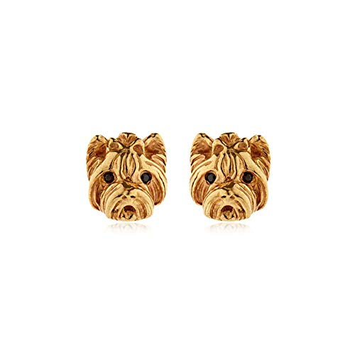 Yorkshire terrier charm dog stud earrings for women girls Wear collection (gold)
