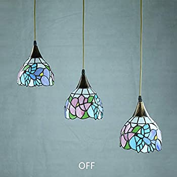 TopDeng Tiffany Style 3-Lights Pendant Light, E26 Hanging lamp with Colored Glass Handmade Light Fixture for Kitchen Island Restaurant-Round