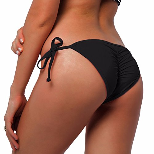 Brazilian Bikini (Fittoo Sexy V Cut Bikini Bottom Tie Sides for women Cheeky Booty T-Back Ladies Swimsuit Black S)