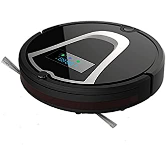 Robotic Vacuum Cleaner High Suction Drop-Sensing Technology Automatic Floor Cleaning Robot Self Charging for Pet Hair, Dust, Hard Floor, Carpet, (Black)