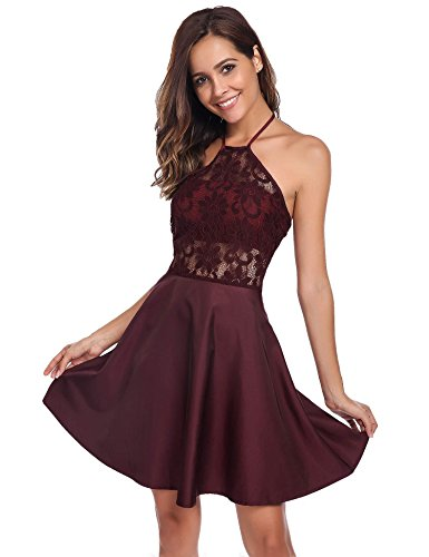 halter backless lace dress - 7