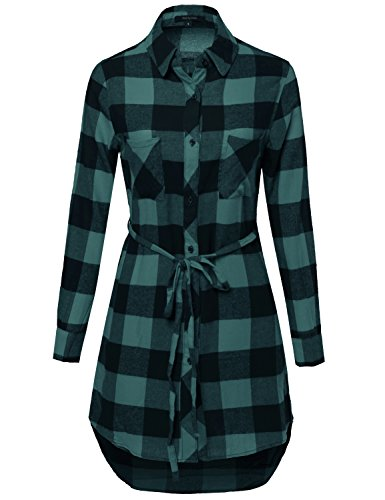 Cotton Plaid Belt - Made by Emma Super Cute Flannel Plaid Checker Shirts Dress with Belt Navy Green M Size