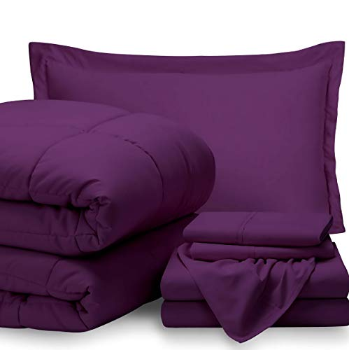 Hemau Bed-in-A-Bag 5 Piece Comforter & Sheet Set - Twin Extra Long Ultra-Soft 1800 Premium - Hypoallergenic - Bare Breathable Bedding (Twin XL, Plum/Plum) | Style 503193252