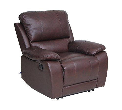 Classic and Traditional Top Grain Leather Sofa Recliner Chair with Overstuff Armrest/Headrest, 1 Seater