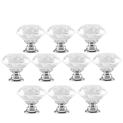 10PCS Crystal Drawer Pulls Glass Clear Door Knobs for Kitchen Cabinets Wardrobe Cupboard Closet Hutch Chest Desk, Diamond Shape Furniture Handles w/Screw by -