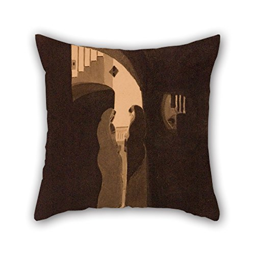 20 X 20 inches / 50 by 50 cm Oil Painting Gaganendranath Tagore - Meeting at The Staircase Throw Pillow Case Each Side is Fit for Bf Kids Girls Boy -