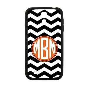 ALLCASE Orange Circle Chevron Black and White Zigzag Pattern Case for Samsung I9500 GALAXY S4 Black Cover Case