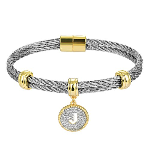Jewelry Cartier Inspired (BIJOUX BOBBI [Luxury Packaging Alphabets Cubic Zirconia Twisted Wire Initial Bracelets - A4168BXK-J)