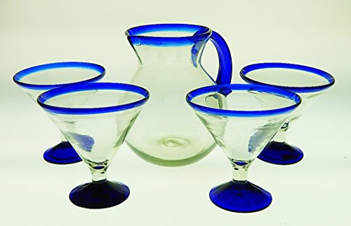 Mexican Margarita Glasses and Pitcher, Blue Rim 15 Oz (Set of 4 Glasses) (Martini) with Round Shape Pitcher 80 oz by Mexican Glass