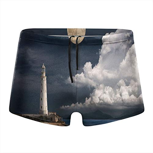 Xuforget Man Moon Old Lighthouse by The Sea Swimwear Quick Dry Shorts L Black