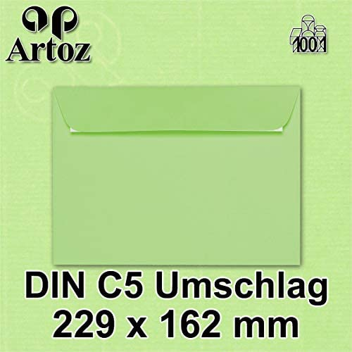 ARTOZ 50x Briefumschläge DIN C5 Blau (Azur) - 229 x 162 mm Kuvert ohne Fenster - Umschläge selbstklebend haftklebend - Serie Artoz 1001