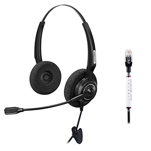 Arama corded RJ Headset Binaural with Noise Canceling Microphone for Call Center Cisco 7941 7975 Office IP Phones or Telephone Systems with Plantronics M10 M12 M22 MX10 Amplifiers (A200DC)