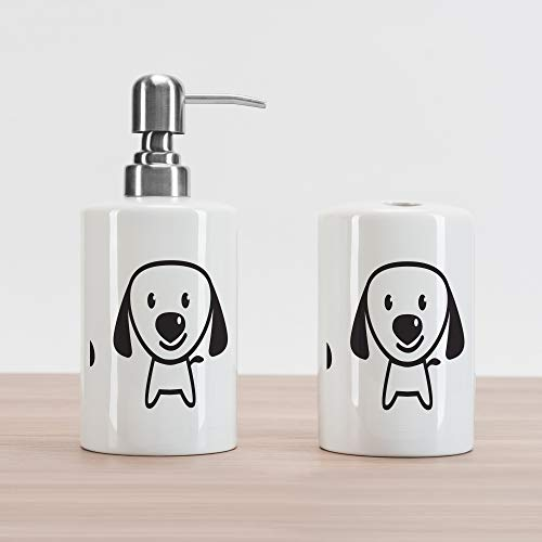 Lunarable Dog Lover Soap Dispenser and Toothbrush Holder Set, I Love Dog Message Bone Paw with Love and Doggy Message, Ceramic Bathroom Accessories, 4.5
