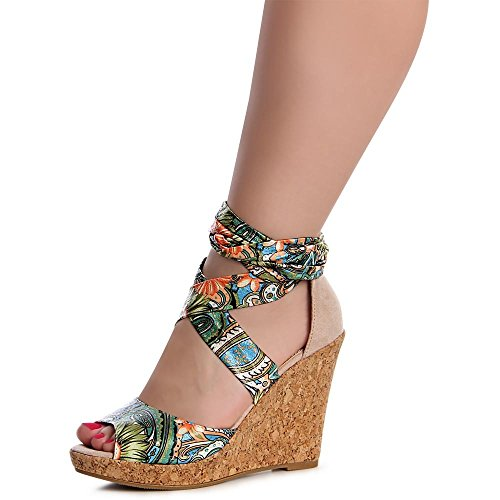 topschuhe24 1147 Damen Sandaletten Sandalen Keilabsatz Bänder Beige