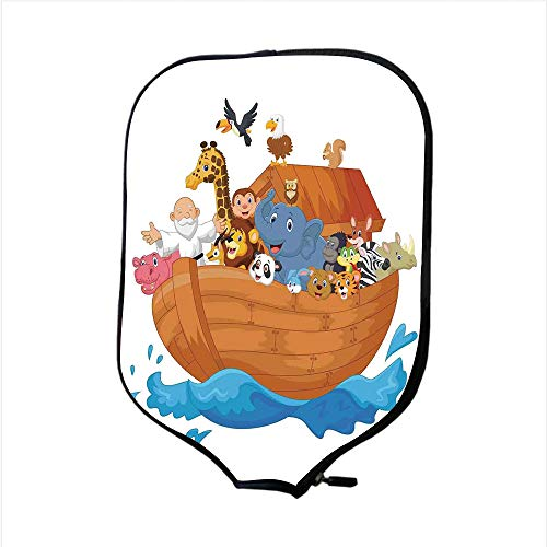 Neoprene Pickleball Paddle Racket Cover Case,Noahs Ark,Noahs Ark Cartoon Style Mammals Smiling Transport in Only Ship Artwork Print,Multicolor,Fit for Most Rackets - Protect Your Paddle