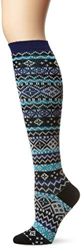 Blend Knee Socks - K. Bell Socks Women's Jacquard Fair Isle Knee High Sock Merino Wool Blend, Black, Sock Size 9 -11