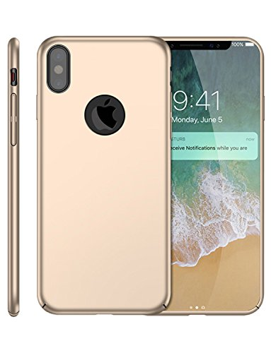 Frosted Plastic Case - iPhone X Case, SunRemex Frosted Shield Shell Hard Plastic Full Protective Anti-Scratch Resistant Cover with Soft Microfiber Cloth Lining Cushion for Apple iPhone X(Gold)