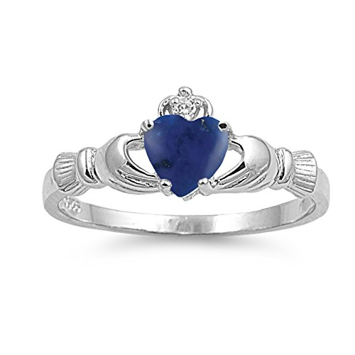 (925 Sterling Silver Cabochon Natural Genuine Blue Lapis Claddagh Heart Promise Ring Size 9)