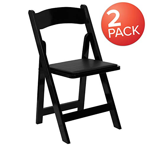 (Flash Furniture 2 Pk. HERCULES Series Black Wood Folding Chair with Vinyl Padded Seat)