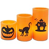 Andrew James LED Candles for Halloween Party Decorations, Set of Three, Real Wax, Flickering, Battery Operated