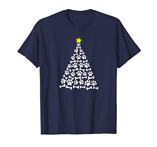 Dog Paw and Bone Christmas Tree Holiday Graphic T-Shirt -
