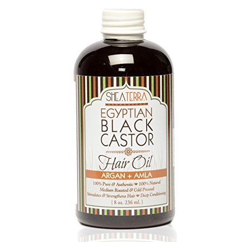 (Shea Terra Organics Egyptian Black Castor Oil for Hair Growth - Argan & Alma | All Natural Hair Treatment - 8 oz)