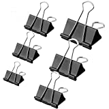 125pcs Binder Clips,Paper Clamp Clips for Letter Notes Paper Binder Office/School Supplies,Assorted Sizes