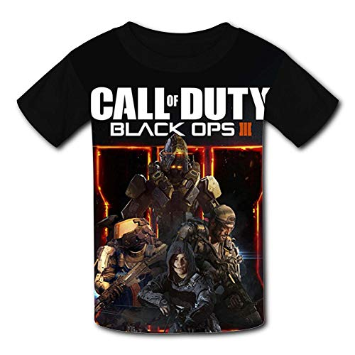 Soldiers Assault Rifle_Call-Duty Teen Novelty Graphic Youth Short T-Shirt Sleeve Tees Boys Girls Black