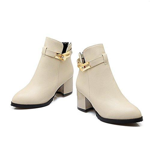 AllhqFashion Womens Kitten Heels Solid Pointed Closed Toe Soft Material Zipper Boots Beige VeSUNz32w