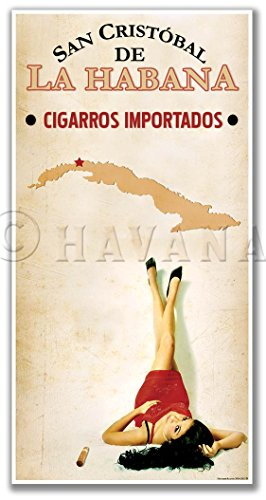LA HABANA Cuban Cigar PINUP GIRL Poster Art Print - measures 24