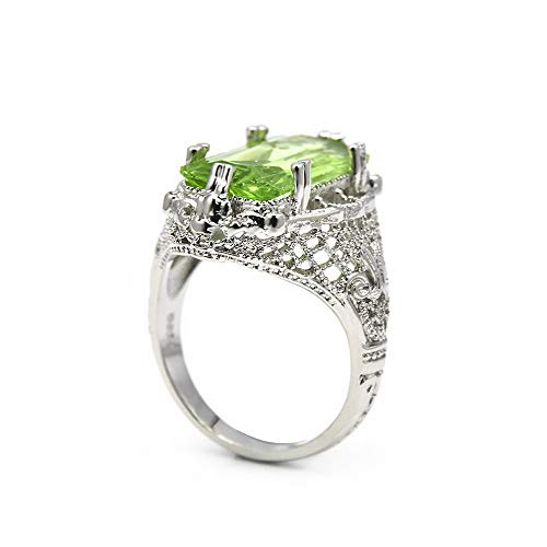 Rhame Turkish Emerald Topaz Vintage Carved Patterned Ring Valentines Womens Gift | Model RNG - 34901 | 8 ()
