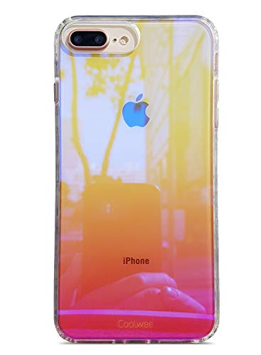 Double Gradient Gold Mirror - Coolwee iPhone 8 Plus case,Clear Case for iPhone 7 Plus iPhone 6 Plus iPhone 6s Plus Gradient Colorful Shockproof Iridescent Cover TPU Bumper Hard Protective for iPhone 8 Plus Aurora Series Pink