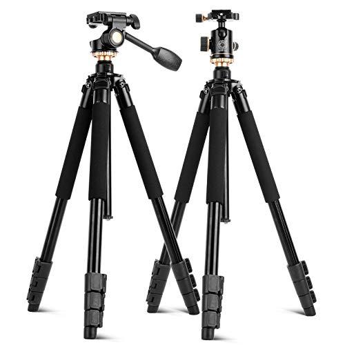 2018 コンパクトアルミニウム写真用備品 三脚ブラケットカメラ Q338 3次元シングルハンドルヘッドとボールヘッド三脚キット すべてのカメラ用   B07JBYTK5X
