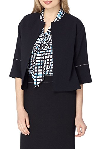 Tahari Brand - Chain-and-Ribbon-Trim Pebble Crepe Jacket - Black - 14 by Tahari