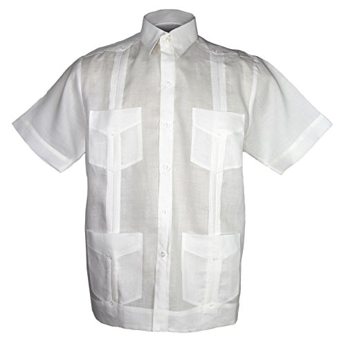Mojito Kids 100% Linen 4 Pocket Guayabera Shirt White Size ()