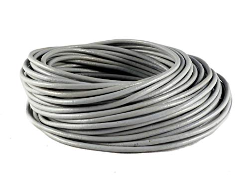 (cords craft 2.0mm Genuine Round Leather Cord Leather String for Jewelry Making Bracelet Necklace Beading, 10 Meters / 10.93 Yards (Grey))