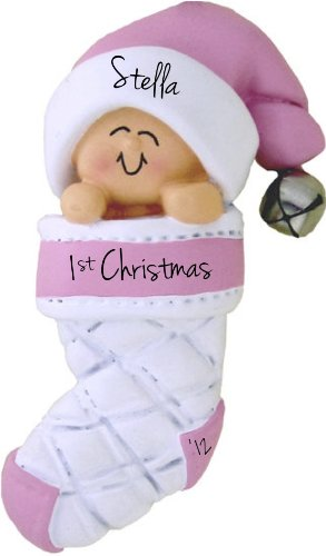 Baby's First Christmas Pink Girl in Stocking Christmas Tree Ornament