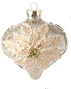 Christmas Tablescape Decor - Pastel Dreams Victorian Antiqued Gold Poinsettia Design Mercury Glass Onion Christmas Ornament