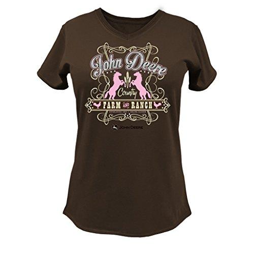 John Deere Farm Ranch Ladies V-Neck Short Sleeve T-Shirt-XL