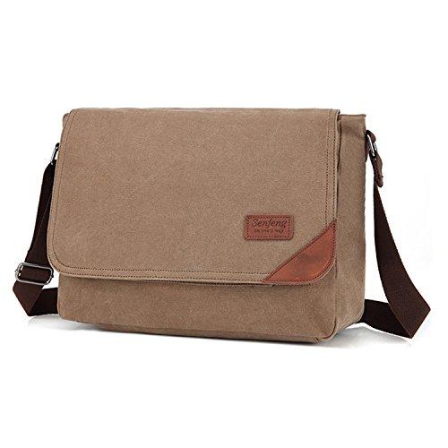Outreo Bolso Bandolera Hombre Vintage Messenger Bag Bolsos de Tela Bolsos Originales para Escolares Libro Bolsa de Lona Tablet Colegio Bolsas de Viaje marrón