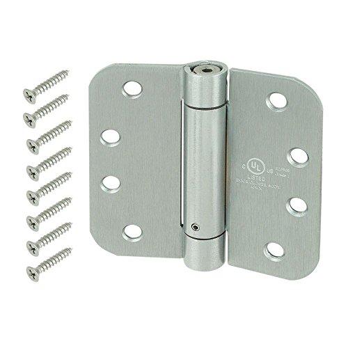 Accessories Hinge Chrome Satin (Everbilt 4 in. Satin Chrome 5/8 in. Radius Adjustable Spring Door Hinge)