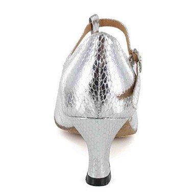 XIAMUO Anpassbare Damen Tanz Schuhe Kunstleder Kunstleder Latein Sandalen angepasste Ferse Praxis Schwarz/Braun/Silber/Grau, Braun, US5/EU 35/UK3/CN34
