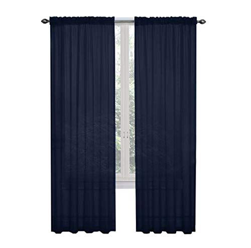GoodGram 2 Pack: Ultra Luxurious High Thread Rod Pocket Sheer Voile Window Curtains Assorted Colors (Navy)
