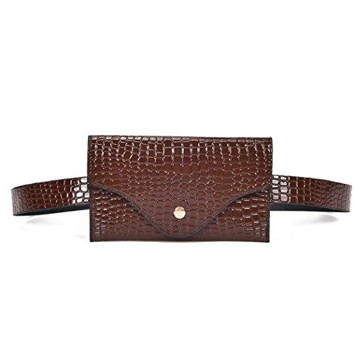 ShenPr Women Purse Stone Pattern Leather Chest Bag Shoulder Bag Handbag Tote Shoulder Bag Crossbody Bag (Brown)