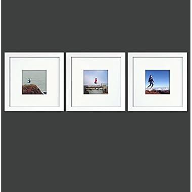 Natural Wood Square Photo Frame, 4x4 (Mat), 8x8 (3, White)