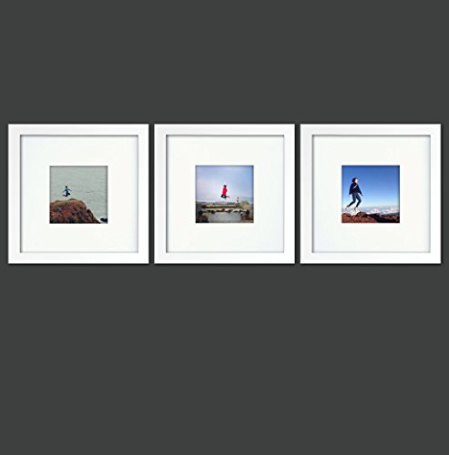 Natural Wood Square Photo Frame, 4x4 (Mat), 8x8 (3, White) - Natural White Picture Frame